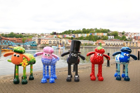 Shaun in the City sculptures on Bristol harbourside