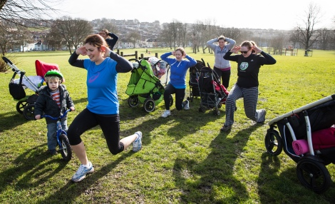 This Girl Can - Rose Taylor takes part in Buggy Buddies in Victoria Park, Totterdown. February 2015. Photographer Freia Turland e:info@ftphotography.co.uk m:07875514528
